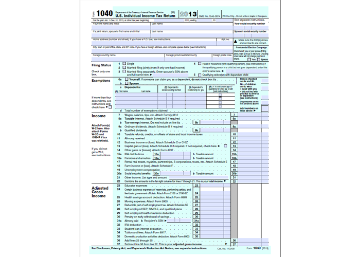 1040 Individual Income Tax Return Form